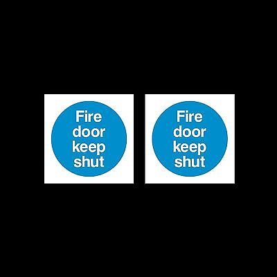 Fire Door Keep Shut - Plastic Sign or Sticker - 85mm x 85mm - Pack of 2