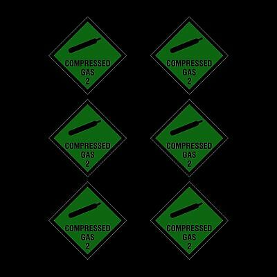 Compressed Gas Sign, Sticker - 100x100mm - *Pack of 6*