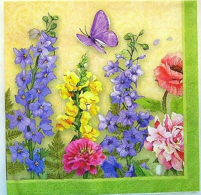 TWO Spring Flowers Paper Luncheon Napkins for Decoupage and Paper Crafts