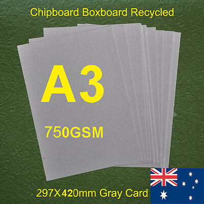 50 X A3 Chipboard Boxboard Cardboard Recycled Gray Card 750gsm 1.3mm