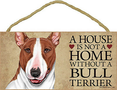 Bull Terrier Wood Dog Sign Wall Plaque 5 x 10