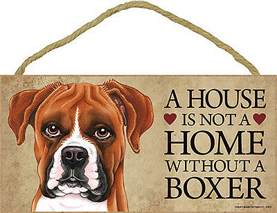 Boxer Uncro Wood Dog Sign Wall Plaque Photo Display A House Is Not A Home 5 x...