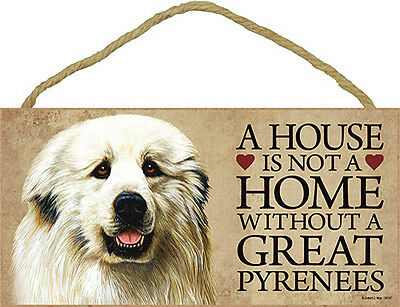 Great Pyrenees Wood Dog Sign Wall Plaque Photo Display 5 x 10