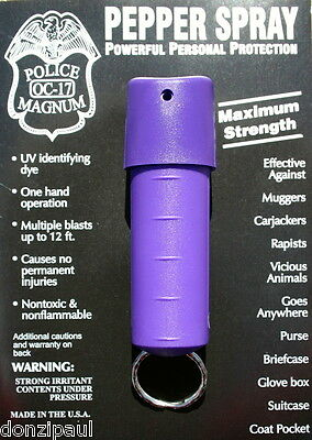 Police Magnum pepper spray 1/2oz Purple Spin Top Keychain Defense Security