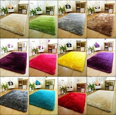 NEW SMALL XLARGE THICK PLAIN SOFT SILKY SHAGGY RUG 6cm PILE MODERN SHIMMER RUGS