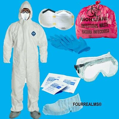 DUPONT Tychem Tyvek TY122s WHITE Coverall Chemical Hazmat Suit KIT PROTECTION XL