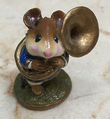 Wee Forest Folk  M-153c Tuba Player - Signed by William Petersen (WP) - 1987