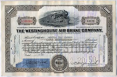 Westinghouse Air Brake Company Stock Certificate Pennsylvania