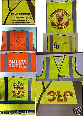 Personalised Hi Vis Safety Vest Logo Text Print Event Business Reflective EN471