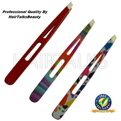 HAIRTALKS Stainless Steel EyeBrow Tweezers Plucker/Puller Slanted Tip Colors
