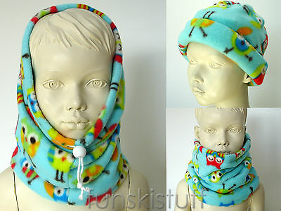 Kids girls OWL Owls BIRD ANIMAL SNOOD neck warmer scarf hat school beanie childs