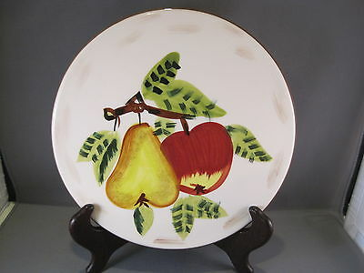 """TABLETOPS GALLERY Hand Painted 8"""" FALL FRUIT TRIVET W/ Pear and Apple"""