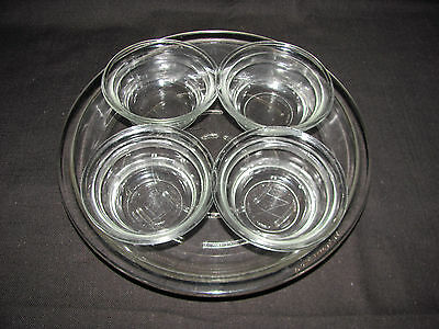 "Vintage Glasbake Ovenware 8 1/2"" Pie Plate #244 1/2, plus 4 Custard Cups #58"