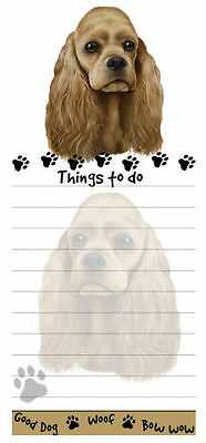 New Tan Cocker Spaniel Dog Puppy Magnetic Grocery List Pad