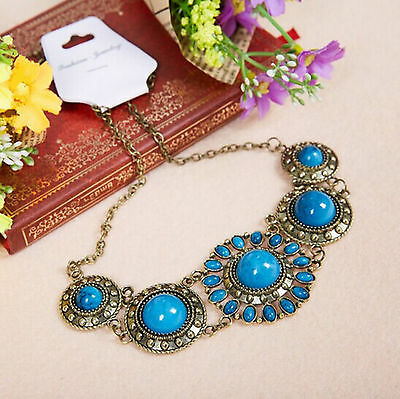 Hot Belly Dance Accessory Lake Blue Tribal Necklace