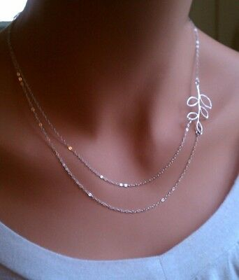 Fashion Women double Chain leaves pendant Charm Silver Plated necklace gift