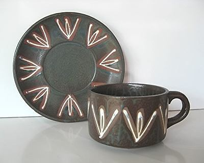 Made in JAPAN * Glazed Pottery Cup & Saucer * LARGE Brand New