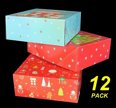 12 Pack Decorated Christmas Gift Boxes 25 x 20 x 8cm