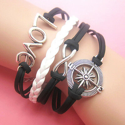 New DIY Hot Infinity Love Rudder Leather Cute Charm Bracelet plated Silver B2
