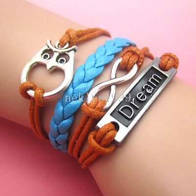 New DIY Hot Infinity Dream Leather Cute Charm Bracelet plated Silver AD