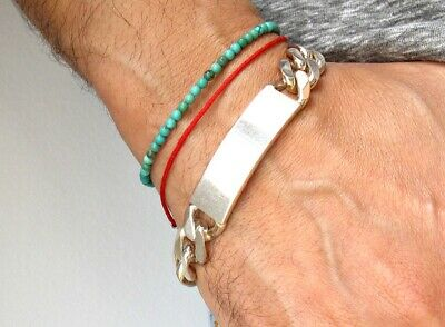 sterling silver chain id bracelet tag solid bangle men women medical  cuff new