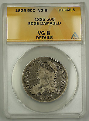 1825 Capped Bust Silver Half Dollar Coin 50c ANACS VG-8 Details - Edge Damaged