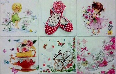 6 paper napkins for decoupage & crafts lunch size 3-ply made in Germany **GIRLS*