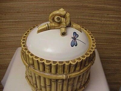 Rare Vintage Italian Italy Porcelain Bamboo DragonFly Cookie Jar Pottery Signed