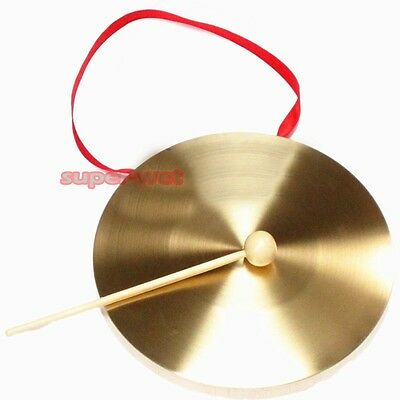 Chinese Small Brass Gong Percussion Musical Instrument W/ Mallet 22cm/8.7'' New