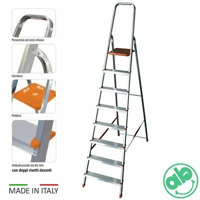 Scala A Forbice Scaletto In Alluminio Da 3 A 8 Gradini Made In Italy Domestico