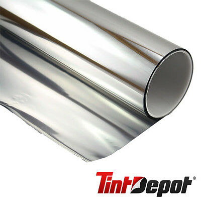 """MIRROR Silver Tint 15% 12""""x 1' (foot) Home Car Commercial Chrome Window Film"""