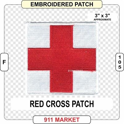Red Cross Patch Medical Military 100% Embroidered Sew On Medic EMT EMS RC - F46