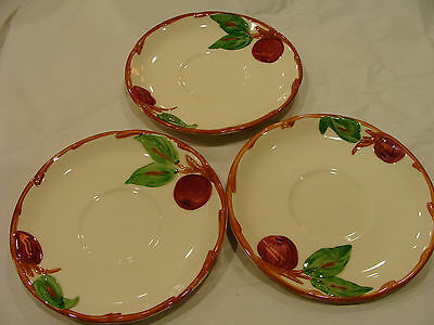 Estate Franciscan Apple Saucers Marked Earthenware Made USA