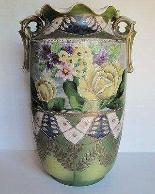 Great Large Vintage Asian Satsuma Double Handled Vase Floral Morriage 15""