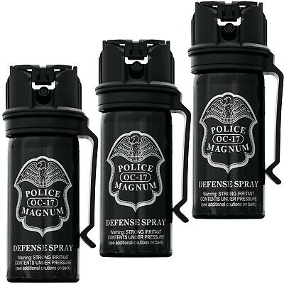 3 PACK Police Magnum pepper spray 2 ounce Flip Top Belt Clip Security Protection
