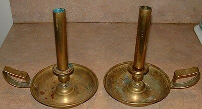 18th century brass candle holders with candle covers