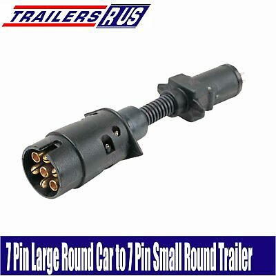 7 Pin Large Round to 7 Pin Small Round Trailer Connector Adaptor Plug