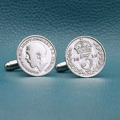 Sterling Silver British Threepence Coin Cufflinks, Any Year 1911-1919 England UK
