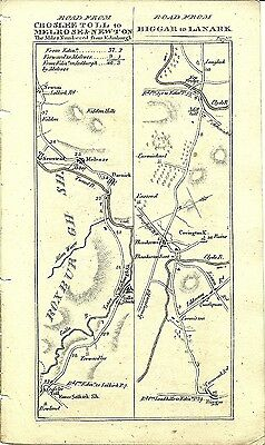 Antique map, Croslee Toll to Melrose & Newton