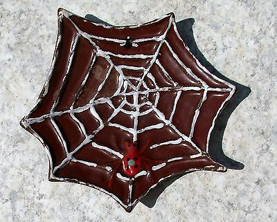Antique Enameled Cast Iron Figural Spider Web Fly Ashtray Trinket Dish Halloween