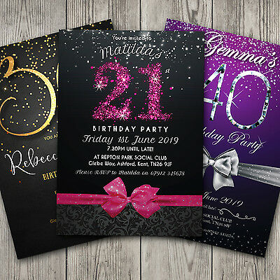 Birthday Invitations Personalised Party 18th 21st 30th 40th 50th 60th (G1)