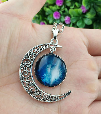 Hot Colorful Galaxy Glass Hollow Moon Shape Pendant Silver Tone Necklace  XL40