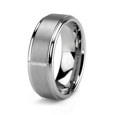 Tungsten Mens Brushed Carbide 8MM Silver Wedding Band Ring Never Tarnish M12