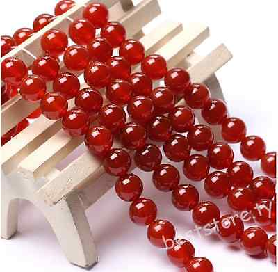 "Red Carnelian Natural Agate Gemstone Round Spacer Beads 15"" 4mm"
