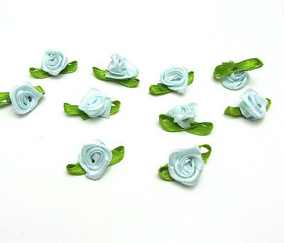 NEW 50pcs Satin Ribbon Flower With Leaves Appliques Crafts Light Sky Blue Color
