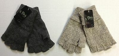 Men's Wool Thermal Insulated Fingerless Winter Texting Gloves OSFA! NEW!