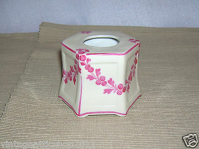 Antique Victorian porcelain Pink Floral Ink Well Handpainted 19th cent No glass