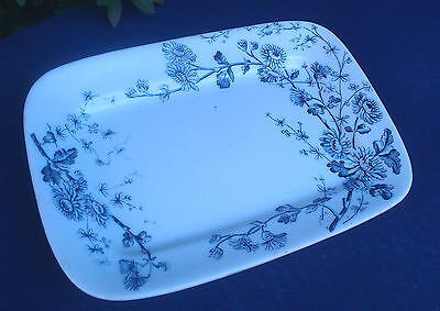 """ANTIQUE WM GRINDLEY C TUNSTALL """"SPRING"""" BLUE FLORAL WHITE IRONSTONE TRAY MARKED"""