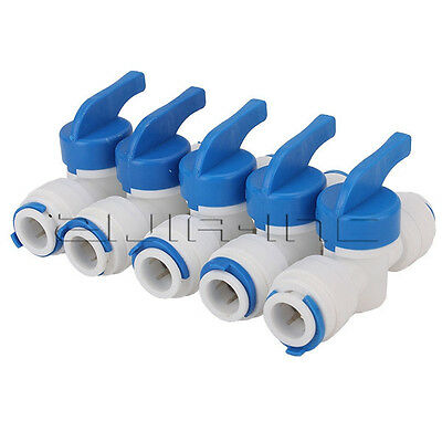 """5pcs Equal Straight Quick Connect Tube Ball Valve 3/8"""" OD RO Water for Aquarium"""
