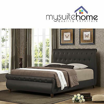 Ansel Classic Chesterfield Matt Brown King/Queen/Double PU Leather Bed Frame